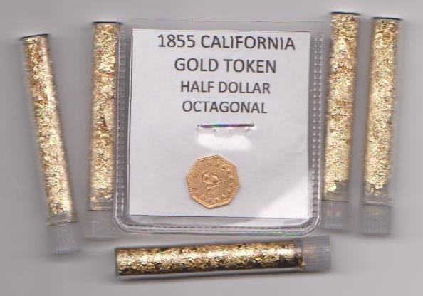 22: 1855 Gold Token & 5 Vials of gold