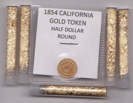 34: 1884 Gold Token & 5 Vials of Gold
