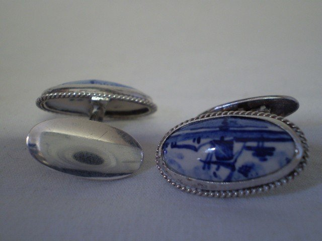 10: Vintage Sterling  & Porcelain Cufflinks