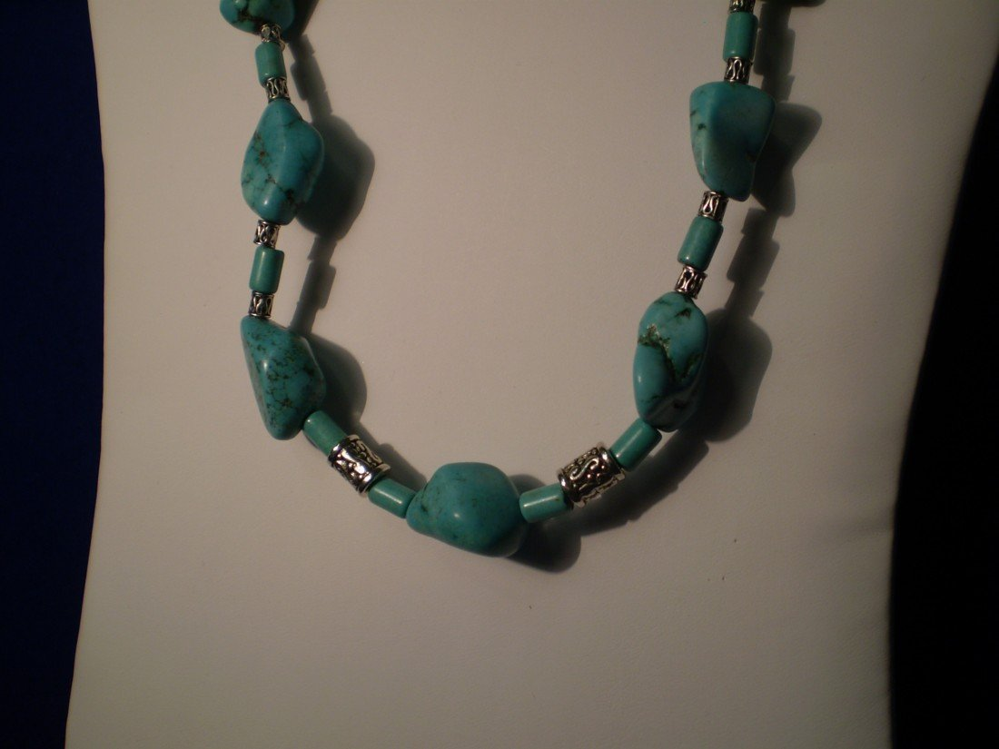 """21: 22""""  Turquoise & Sterling Necklace"""