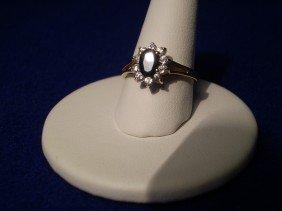 16: 10K Gold Sapphire Diamon Ring