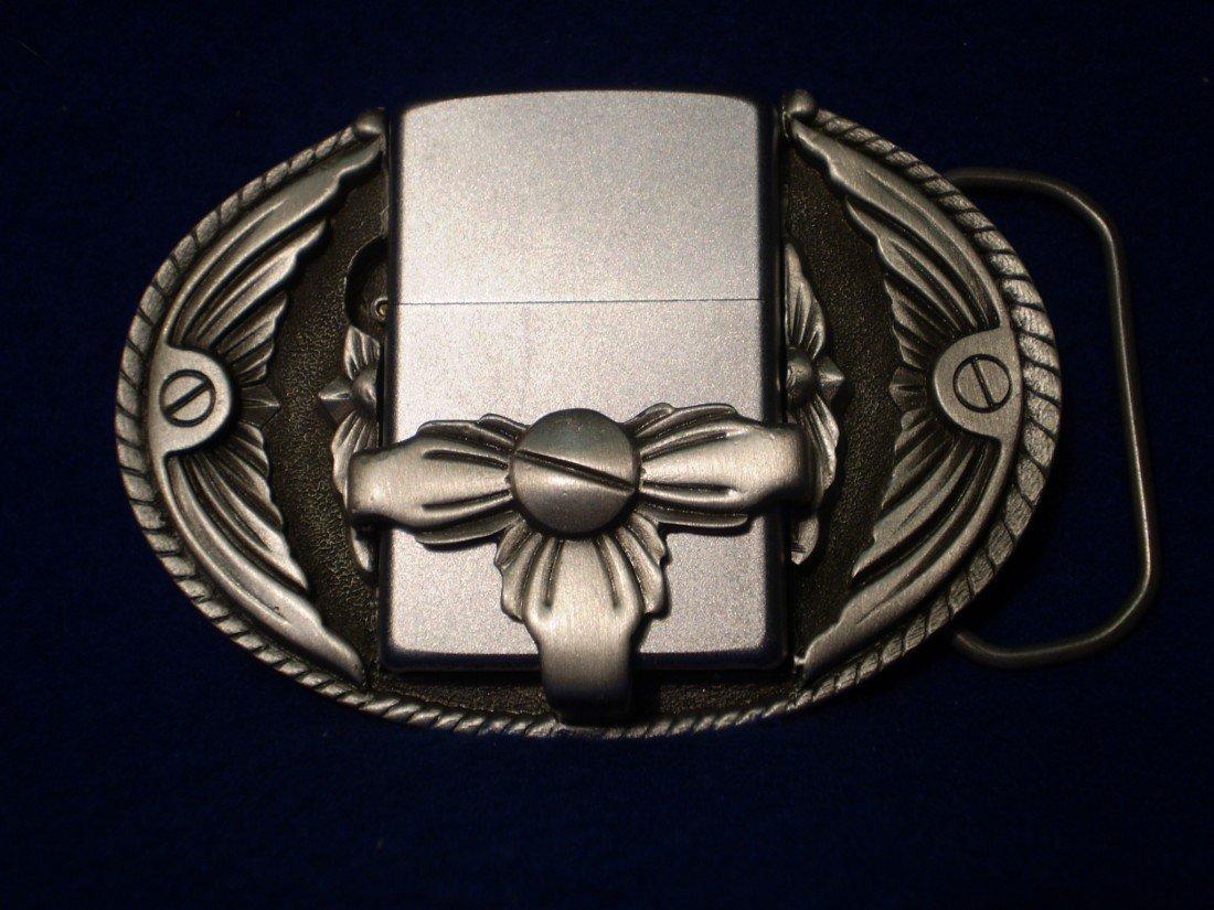 8: Pewter Belt Buckle holds zippo style lighters (light