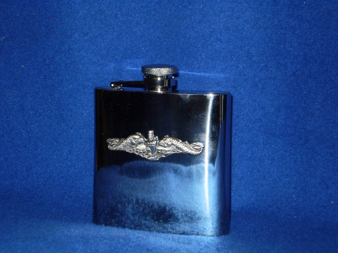 12: Stainless Flask with Navy Submarine emblem 6oz.