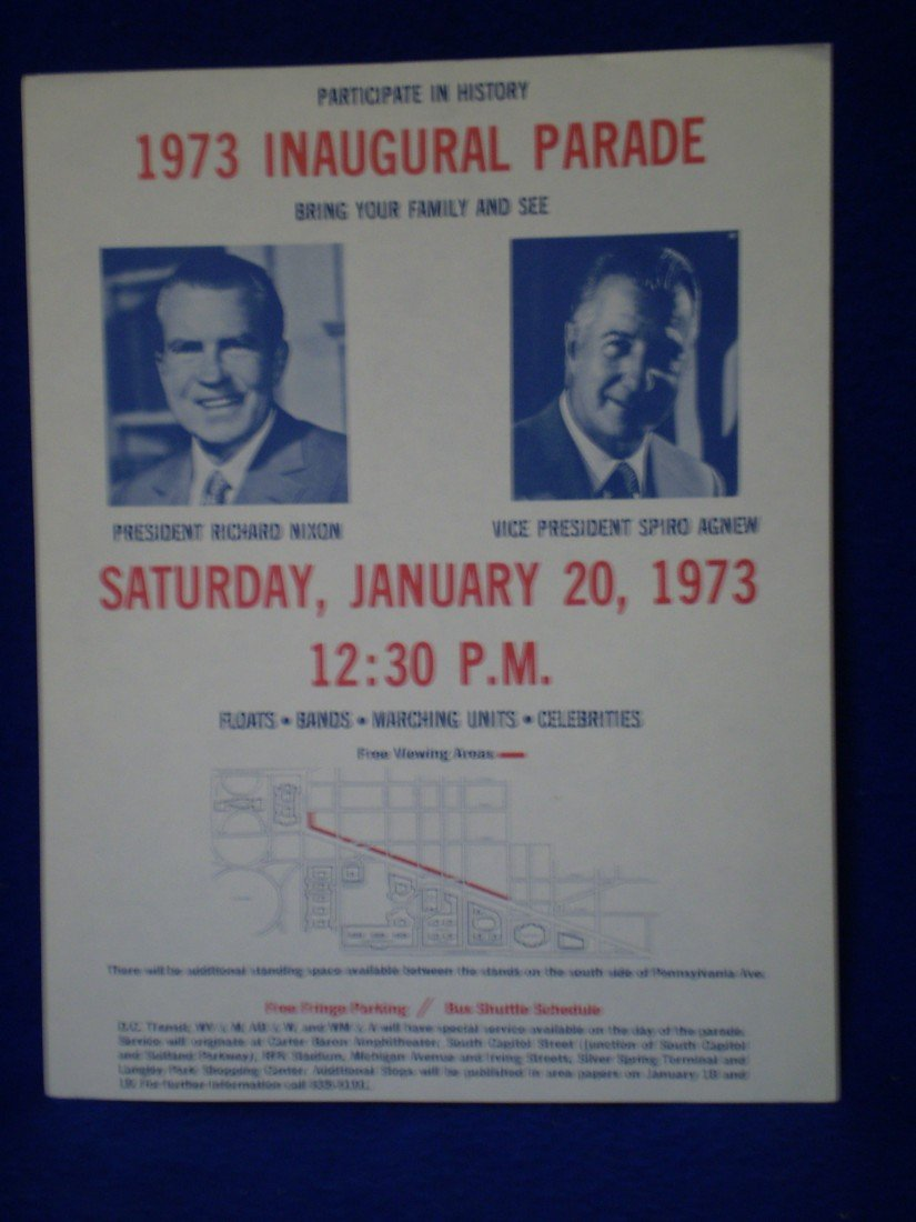 17: 1973 Flyer with map for Nixon Inauguration