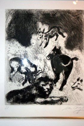 7: Chagall Etching - Hand Signed -Fables of La Fontaine