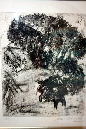 8: Chagall Etching - Hand Signed -Fables of La Fontaine