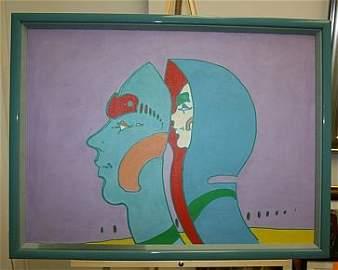 1: Peter Max 1972 Original on Canvas Signed - RARE RARE