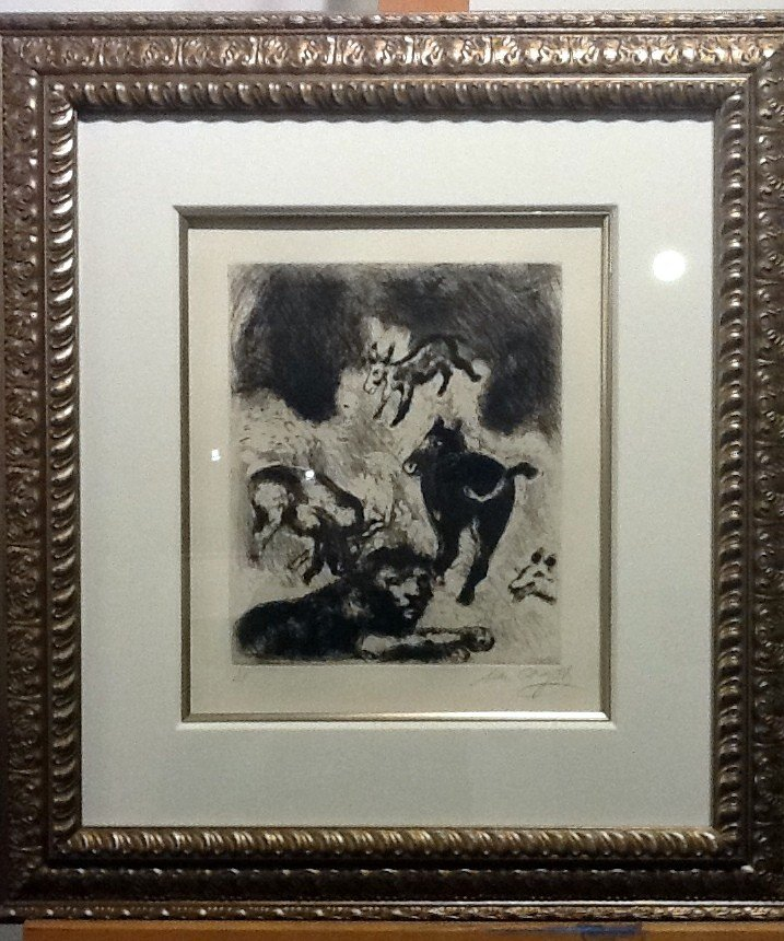 Chagall Etching - SIGNED- FABLES OF LA FONTAINE 1952