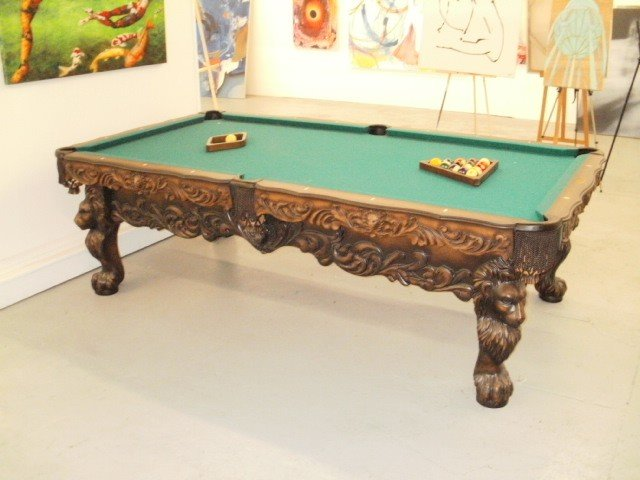 12B: POOL TABLE - Hand Carved - Olhausen