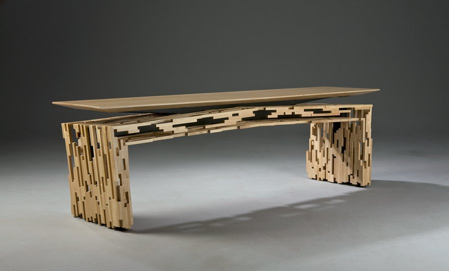11: Wood & Steel Bench by Marcus Papay
