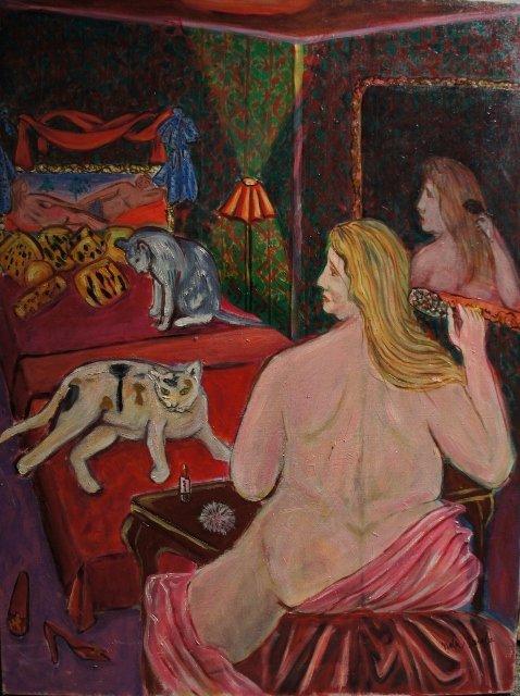 "3: Original painting by Nobu Tanaka ""Woman Alone"""