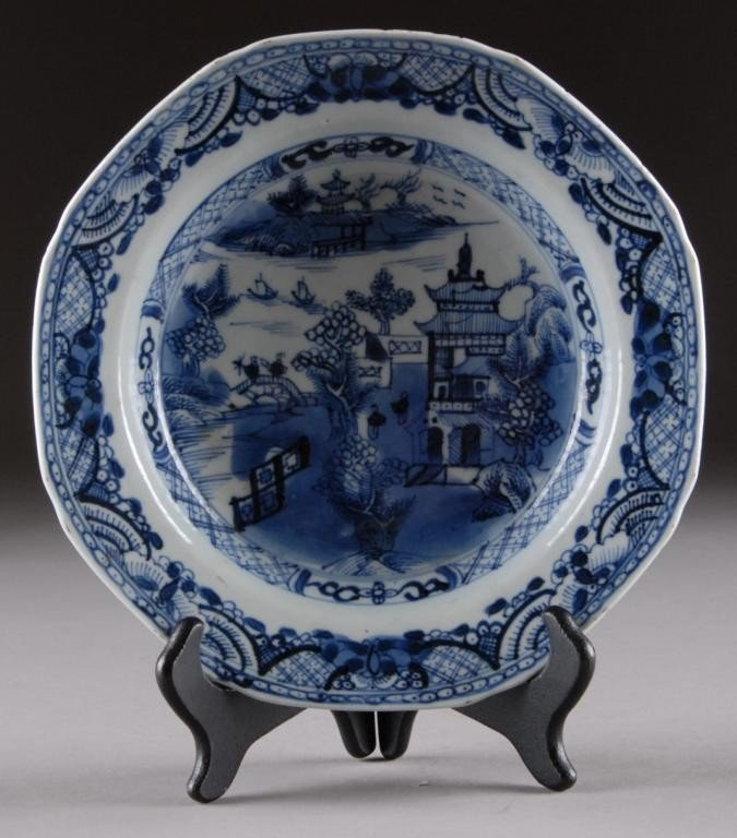 5: AN ANTIQUE CANTON BLUE AND WHITE BOWL