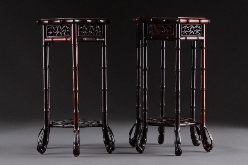 42: A PAIR OF FAUX BAMBOO CARVED ROSEWOOD STANDS,