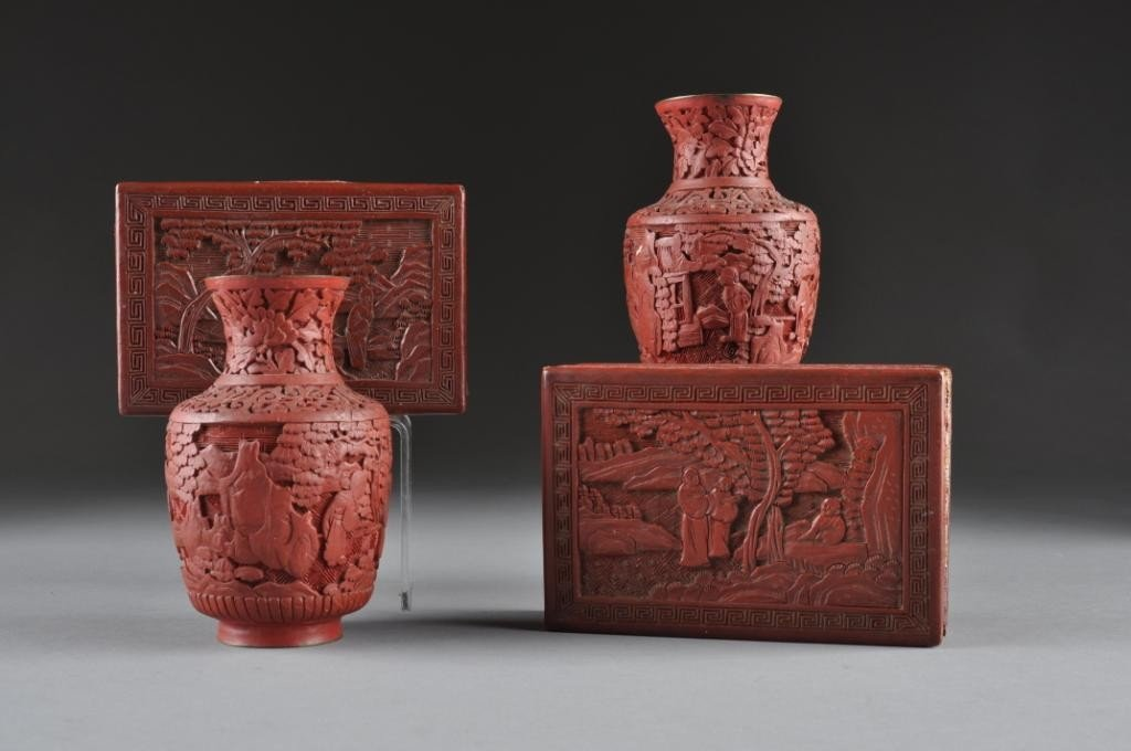 12: A COLLECTION OF ANTIQUE CHINESE CINNABAR,