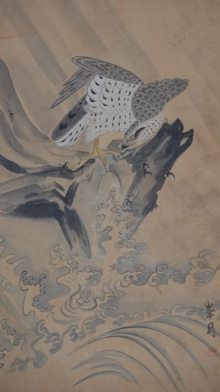 23: A JAPANESE WATERCOLOR ON PAPER SCROLL OF A HAWK,