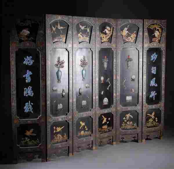 A VINTAGE CHINESE COROMANDEL SIX PANEL SCREEN,