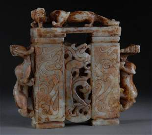 A CHINESE CARVED JADE ARCHAISTIC STYLE VASE