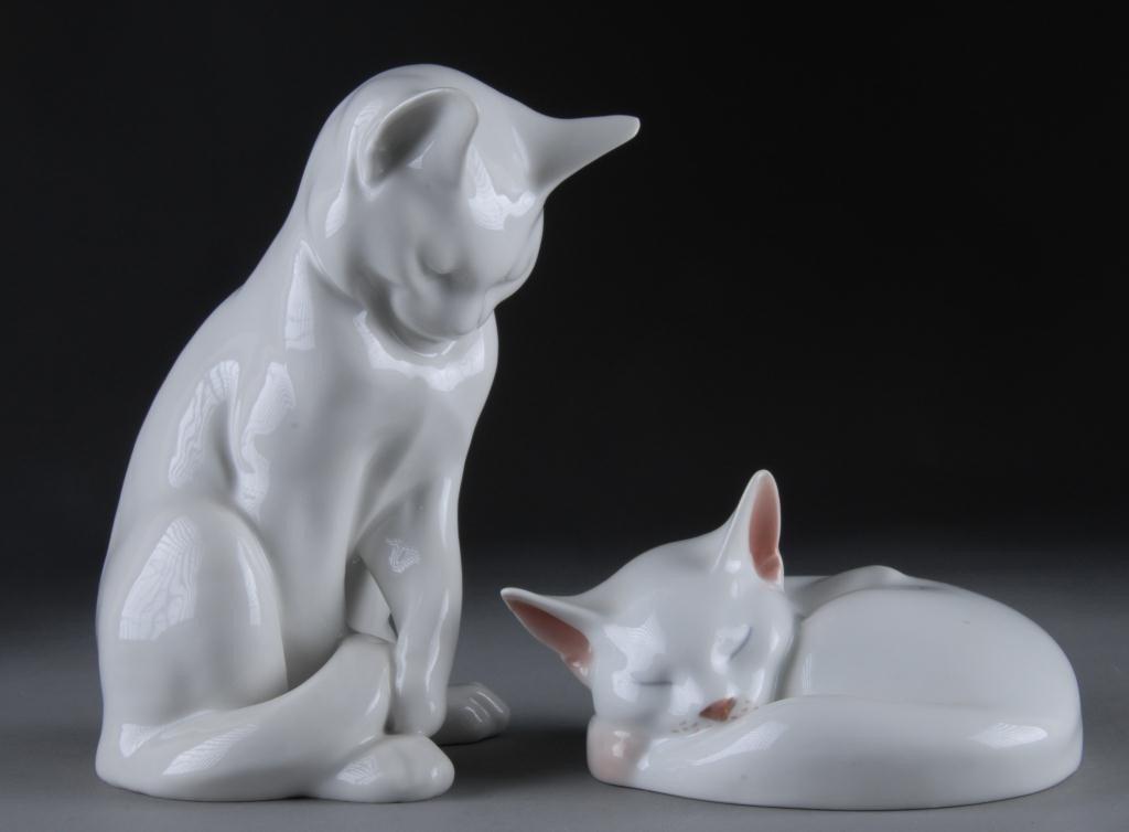 13: TWO ROYAL COPENHAGEN WHITE PORCELAIN CATS,