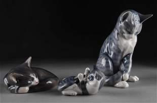 THREE ROYAL COPENHAGEN PORCELAIN FIGURES OF CATS,