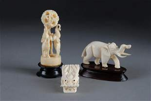 GROUP OF 3 CHINESE CARVED IVORY ANIMAL FIGURES,