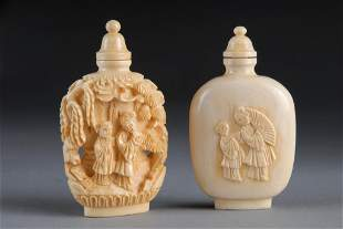 TWO CHINESE CARVED IVORY SNUFF BOTTLES, SECOND