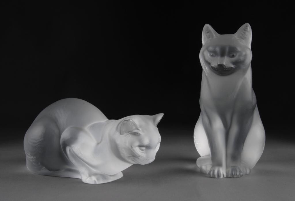 19: TWO LALIQUE CAT FIGURES,