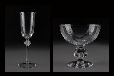 21: A LALIQUE CRYSTAL ROXANE CHAMPAGNE FLUTE 15317 &