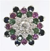 101: 14K DIAMOND EMERALD RUBY SAPPHIRE RING