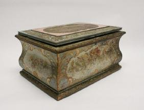 19C Venetian Painted Casket Form Sewing Box