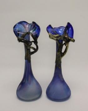 Pair Art Nouveau Blown Glass & Metal Bud Vases