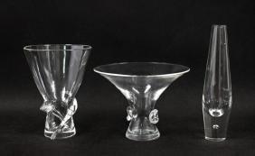(3) Steuben Crystal Glass Vases Donald Pollard