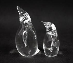 (2) Vintage Steuben Crystal Glass Penquins