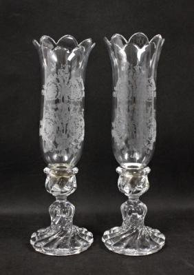 Pair Baccarat Candle Holders with Etched Shades