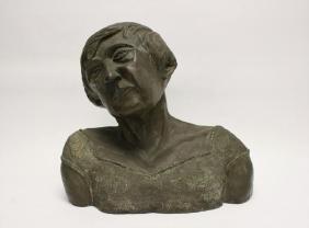 Vintage Bronze Bust Old Woman