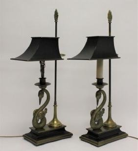 Pair 1970's Chapman Lamps w Swans & Tole Shades