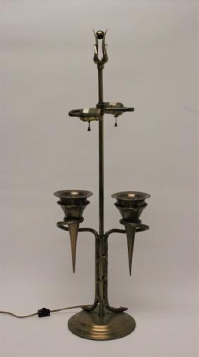 70's Chapman Bronze Vine & Torchiere Table Lamp