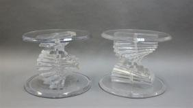 (2) Spiraling Stacked Lucite End Tables