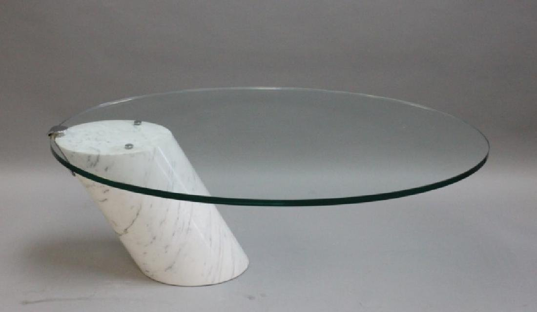 Pace Cantilever Marble And Glass Coffee Table