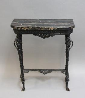 Italian Black Marble & Iron Console Table w Lions
