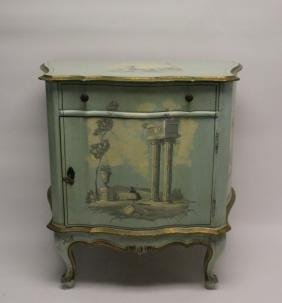 Hollywood Regency Venetian Painted Side Cabinet