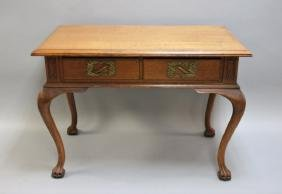 1880's Golden Oak Claw Footed Partners Desk