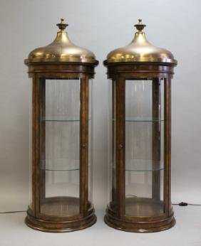 (2) Islamic Style Brass Domed Display Cabinets