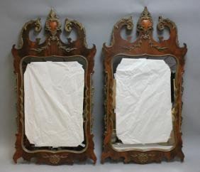 (2) French Empire Antique Carved Wood Mirrors