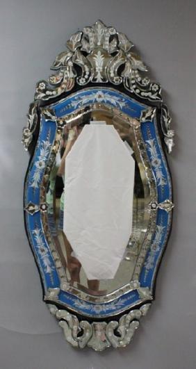 Vintage Italian Blue & Clear Glass Venetian Mirror