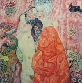 "After Gustave Klimt Painting """"Girlfriends"""