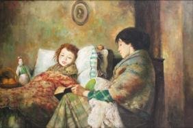 Oil on Canvas Mother & Ailing Child
