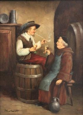 J Eberhardt b1899 Austrian Painting Friar Merchant