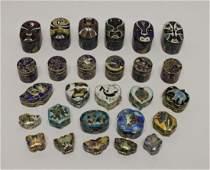 27 Miniature Cloisonne Boxes Pill Boxes