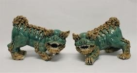 Pair Vintage Chinese Painted Terracotta Foo Dogs