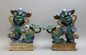 Large Chinese Glazed Terracotta Foo Dog Statues